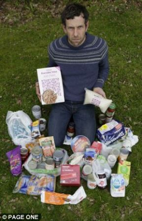 Ross Slater of the Mail On Sunday, posing with his Thrussell Trust food parcel